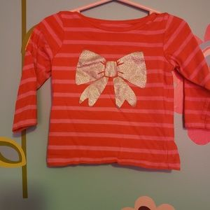 Baby Girl Red Striped Shirt with a Silver Bow